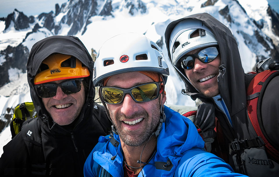 Jayson and clients in the European Alps