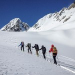 Guided ski touring group